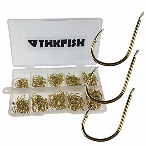 QualyQualy 500 Pezzi Ami da Pesca in Acciaio al Carbonio con Scatola di Plastica (Oro)