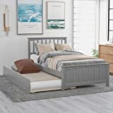 Twin Bed Frame with Trundle, Kids Platform Twin Bed with Pull Out Trundle,Solid Wood, No Box Spring Needed (Light Grey (Trundle))