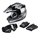 TCMT Dot Youth & Kids Motocross Offroad Street Helmet Motorcycle Youth Helmet Dirt Bike Motocross ATV Helmet+Goggles+Gloves (X-Large, Pattern:Black Skull)