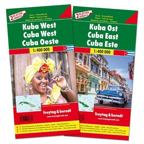 Cuba, este y oeste. 2 mapas de carreteras. Freytag & Berndt.: Set wegenkaarten 1:150 000