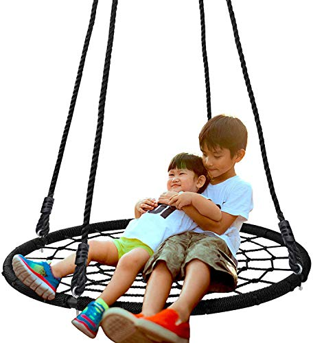 SUPER DEAL 40'' Spider Web Tree Swing Net Swing Platform Rope Swing...