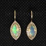 Davitu Earrings - Natural Opal Earrings 14Kt Yellow Gold,Clip Diamond Opal Earrings 585 Yellow Gold...