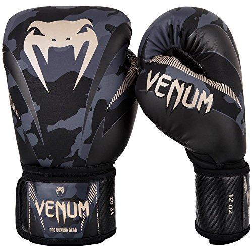 Venum Impact Guantes de Boxeo, Muay thaï, Kick boxing, Camuflaje Oscuro / Arena, 14 Oz