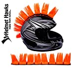 Helmet Hawks Motorcycle, Ski or Snowboard Helmet Mohawk w/Sticky Hook and Loop Fastener Adhesive (8) Hair Patches 2' long x 3' Tall - Fluorescent Orange