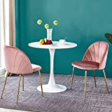 duduta 3 Pieces Round Tulip Dining Set for 2, 32' Tulip Pedestal Table, 2 Pack Blush Mid Century Modern Upholstered Side Chairs