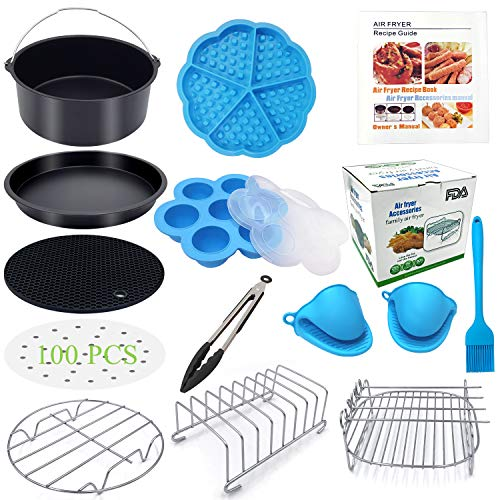 Eco Moda 7 inch Air Fryer Accessories 12 pcs with Recipe Cookbook