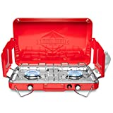 Hike Crew Gas Camping Stove   20,000 BTU Portable Propane 2 Burner Stovetop   Integrated Igniter & Stainless Steel Drip Tray   Built-in Carrying Handle, Foldable Legs, Wind Panels   Includes Regulator