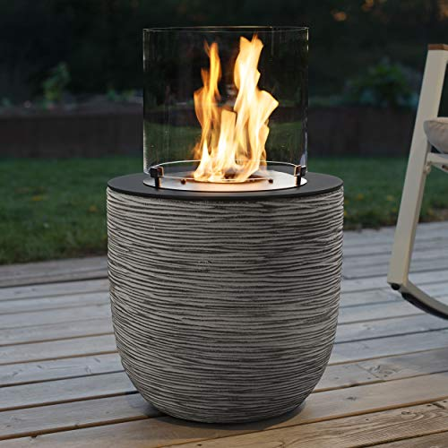 muenkel Design Vagos – Ribbed Black/Grey – Bio-Ethanol Fire Pit Garden Torch Patio Fire with Round Burner 300 Combustion Chamber