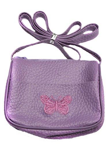 Kinder Handtasche mit eingestickten Butterfly - Lila