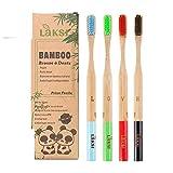 LAKSI Brosse à Dents Biodégradable Compostable vegan Naturel en bambou brosse à dents très souple pack de 4 brosse à dents bambou écologique  brosse a dents bois aide au blanchiment et détartrage