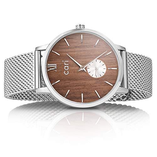 Cari Mesh Milanaise Holzuhr für Herren Männer mit Saphirglas (42mm) - Armbanduhr Helsinki-161