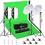 HPUSN Softbox Continuous Lighting Kit Professional Studio Photography with Max 8.5ft x 10ft Background Support System,2 Reflectors 20x28 Inch,E27 85W 5500K Umbrellas for Portrait and Photography