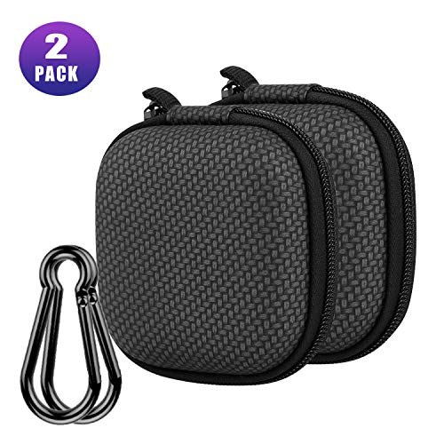 Earphone Case, Music tracker Portable Travel EVA Headphone Storage Bag Earbud & Cell Phone Accessories Organizer Carrying Case Pouch with Carabiner (Black, 2 Pack)