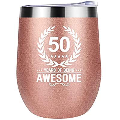"""UNIQUE AND MEMORABLE GIFT - Special nice for 50th birthday gift.The saying """"50 YEARS OF BEING AWESOME"""" make some one you love know how awesome she is .These drink tumbler make a fun and wonderful gift choice for 50th anniversary gift, Mother's Day,th..."""