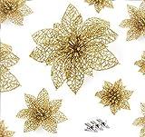 ilauke Noël Poinsettia Glitter Ornement 30pcs Artificielles Fleurs de Noel, Decoration Noel Sapin Avec 35 pinces Clip de Noël pour la Fête de Mariage Décorations de Noël (Or)