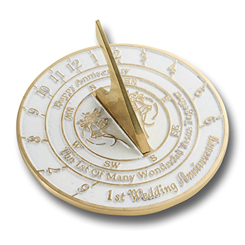 The Metal Foundry Personalised First Wedding Anniversary Sundial With Pedestal Gift Idea Is A Great Present For Him, For Her Or For A Couple To Celebrate 1 Year Of Marriage