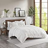 Madison Park Pacey Tufted Chenille 100% Cotton Coverlet Shabby Chic Cozy All Season Bedspread Bed Set with Matching Shams, King/Cal King, Geometric Embroidery White 3 Piece