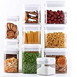 DRAGONN 10 Piece Airtight Food Storage Container Set with Labels, Pantry Organization and Storage, Keeps Food Fresh, Big Sizes Included, Durable, BPA Free Containers, DN-KW-FS10