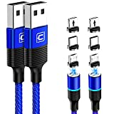 Magnetic Charging Cable, CAFELE 2 Pack/6.6ft 3 in 1 Magnetic Phone Charger Universal QC 3.0 Fast Charging Data Sync Nylon Braided USB Cord Magnet Phone Charger for iOS Micro USB Type C Devices - Blue