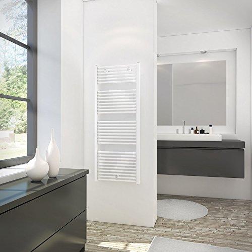 Schulte 4061554000270 Sèche-serviette pour salle de bain, radiateur à eau chaude, env. 900 W, blanc, 60 x 154 cm