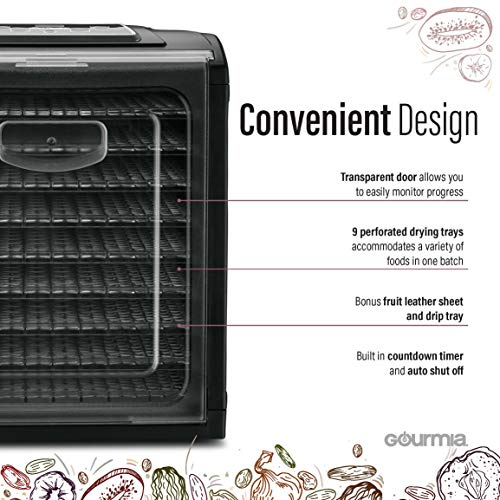 Product Image 1: Gourmia GFD1950 Premium Electric Food Dehydrator Machine - Digital Timer and Temperature Control - 9 Drying Trays - Perfect for Beef Jerky, Herbs, Fruit Leather - BPA Free - Black