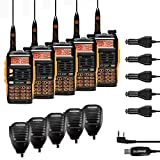 Baofeng GT-3TP Mark-III Tri-Power 8/4/1W Two-Way Radio Transceiver, Dual Band 136-174/400-520 MHz 8W, High Gain Antenna, Upgraded Chip, Remote Speakers, Programming Cable, Orange and Black, 5 Pack