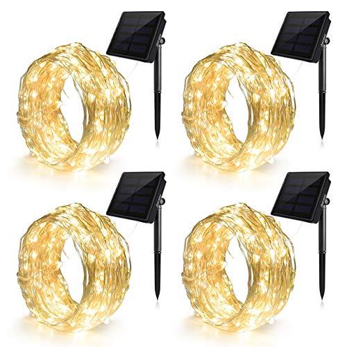 Ankway Catena Luminosa Solare 100 LED 4 Pacchi (Filo di Rame 3 Fili, 8 Modi), 12M Luci Stringa...