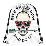 Ahdyr Mochila con cordón Bolsas Deportivas Cinch Tote Bags Hipster Skull con Gafas de Sol Friki y Arrow Bite The Idiom Cool Motivation Des para Viajes y Almacenamiento