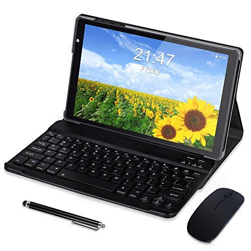 Tablet 10 Pollici Android 10 Quad - Core SIM Tablet PC con 4 GB RAM+ 64 GB ROM Espansione SD da 128 GB 8000mAh WIFI GPS Doppia Fotocamera 5MP+8MP Nero