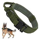 Militar Collares Tácticos para Perros, Collar K9 con Mango de Control Hebilla de Metal, Nailon Perro Collares Ajustable para Entrenamiento de Perros Medianos y Grandes, Camuflaje XL