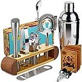 TJ.MOREE Kit à cocktails de barman avec support, jeu de 11 accessoires de...