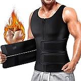 Cimkiz Sauna Sweat Vest Body Shaper for Mens Waist Trainer Zipper Neoprene Sauna Suit Tank Top...