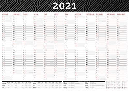 Großer Wandkalender 2021 in DIN A1 (84 x 59,4 cm) gefalzt, fürs Büro. Wandplaner, Jahreskalender XXL für 12 Monate 2021. Jahresplaner groß inklusive ... gesetzlichen Feiertage und Vorschau für 2022