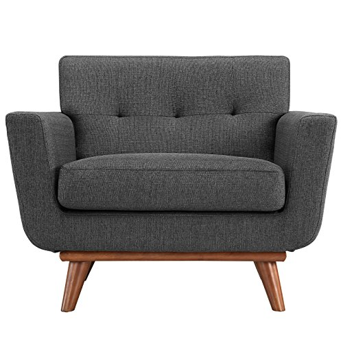Modway Engage Mid-Century Modern Upholstered Fabric Accent Arm Lounge Chair in Gray, Armchair