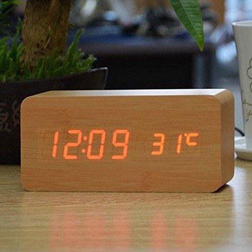 Relógio Despertador Mesa Digital Tipo Madeira Com Sound Control 1299 (Natural)