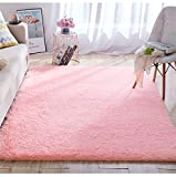 Super Soft Fluffy Shaggy Area Rugs Living Room Floor Decorative Carpets, Pink Girls Bedroom Rugs for Kids Baby Nursery Playmats Crawling Mat, 5x8 Feet