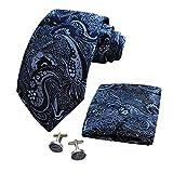 CANGRON Juego de corbata floral azul marino para hombre con caja de envoltura de regalo para gemelos cuadrados DLSP8ZQ