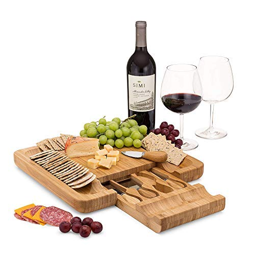 Bamboo Cheese Board Set With Cutlery In Slide-Out...