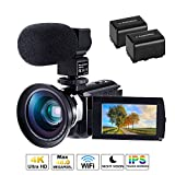 CofunKool WiFi 4K Videocamera Ultra Alta Definizione 48MP, Sensore CMOS, IR Visione Notturna, 3.0' IPS Schermo, con Microfono e Obiettivo Grandangolare