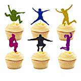 24 Packs Trampoline Cupcake Topper Bounce House or Jumping Party Gymnastics Kids Birthday Decorations