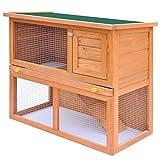 vidaXL Clapier 1 Porte Bois Cage Extérieure pour Lapin Animaux Enclos à Lapin
