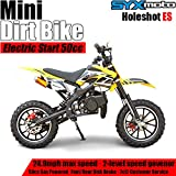 SYX MOTO Kids Dirt Bike Holeshot Electric Start 50cc Gas Power Mini Dirt Bike (Yellow)
