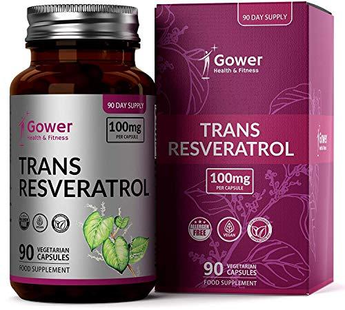 Trans Resveratrol 100mg del Extracto de Knotweed Japonés   90 Cápsulas Veganas   Antioxidantes Potentes   Suplemento de Polifenoles de Estilbenoides Naturales - Vegano, Sin Gluten, sin OGM