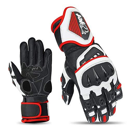 JET Motorradhandschuhe Premium-Leder Belüftete Hartschalen auf Knöcheln und Fingern