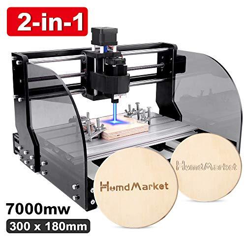 【2 In 1】CNC Fräsmaschine Laser Engraving Machine 3018 Pro Max GRBL Steuerung Perfektes Set für Anfänger und HobbyHolz Router Stecher mit Offline-Controller XYZ Arbeitsbereich 300x180x45mm (7W)