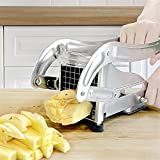 French Fry Cutter with 2 Blades,Coma 3.2 Inch Professional Potato Slicer with No-Slip Suction Base...