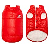 PAWCHIE Dog Winter Clothes for Cats & Small Dogs Soft Down Jackets Windproof Warm Coat for Cats, Puppies in Cold Days, Red
