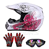 OUMURS Kids Children Helmet Gloves Goggles Youth Helmets For boys and girls Motorcycle Dirt Bike ATV Motocross Off-Road (Style:Spider web/Cartoon/Drink Tattoo/Butterfly) (Pink Butterfly,M)
