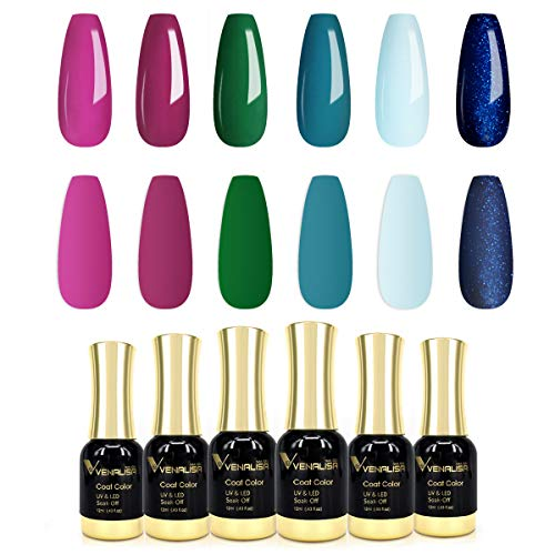 VENALISA Gel Nail Polish Kit - 6 PCS 12ml Purple Green Blue Colors Gel Polish Set Soak Off UV LED Gel Polish for DIY at Home Nail Art Salon Manicure Gift Starter Kit