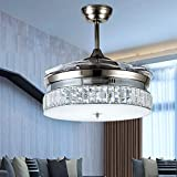 Retractable Crystal Ceiling Fans Light with Remote Control 4-Blade Invisible Ceiling Fan Chandelier Art Decoration 36 inch (Silver)